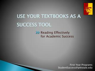 Use Your Textbooks as a Success Tool