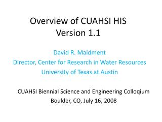 Overview of CUAHSI HIS  Version 1.1