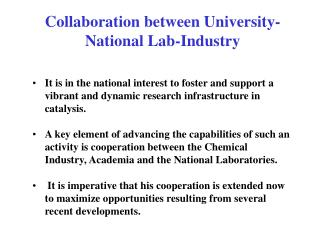 Collaboration between University-National Lab-Industry