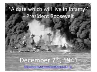 ''A date which  will live  in infamy'' - President Roosevelt
