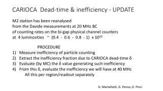 CARIOCA  Dead-time & inefficiency  - UPDATE