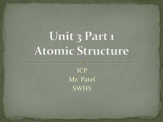 Unit 3 Part 1 Atomic Structure
