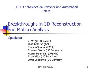 Breakthroughs in 3D Reconstruction and Motion Analysis