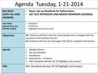 Agenda  Tuesday, 1-21-2014