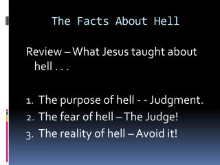 The Facts About Hell