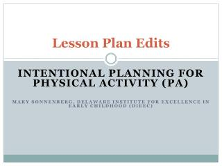 Lesson Plan Edits