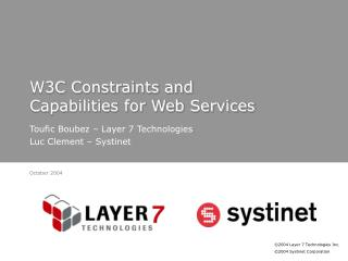W3C Constraints and Capabilities for Web Services