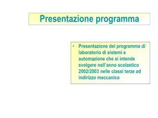 Presentazione programma