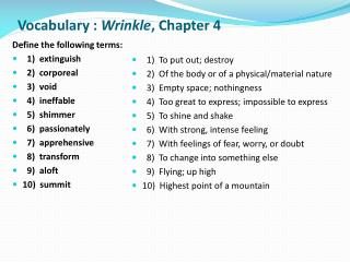 Vocabulary :  Wrinkle ,  Chapter 4