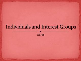 Individuals and Interest Groups