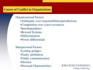 Causes of Conflict in Organizations