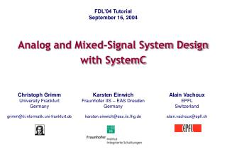 Analog and Mixed-Signal System Design with SystemC