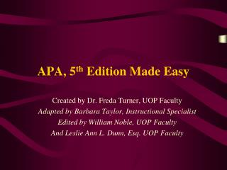 APA, 5 th  Edition Made Easy