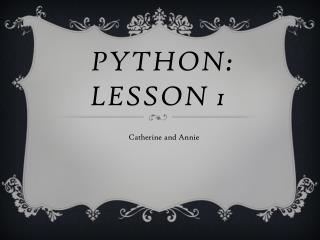 Python: lesson 1