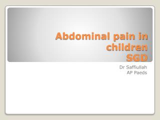 Abdominal pain in children SGD