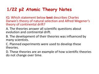 1/22 p2 Atomic Theory Notes