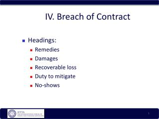 IV. Breach of Contract