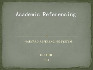 Academic Referencing