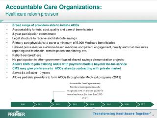 Accountable Care Organizations: Healthcare reform provision