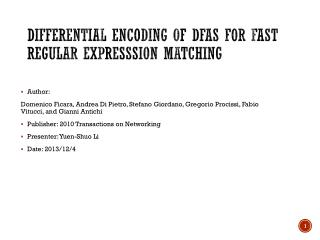 Differential Encoding of DFAs for Fast Regular  Expresssion  Matching