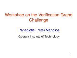 Workshop on the Verification Grand Challenge