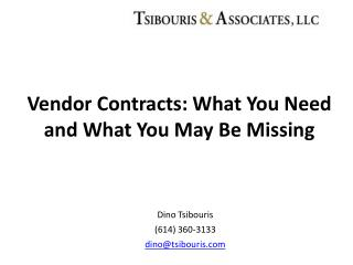 Vendor Contracts: What You Need and What You May Be Missing