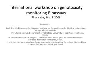 International workshop on  genotoxicity  monitoring Bioassays Piracicaba,  Brazil  2006