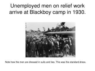 Unemployed men on relief work arrive at Blackboy camp in 1930.