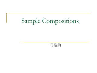 Sample Compositions