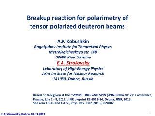 Breakup reaction for  polarimetry  of  t ensor  polarized deuteron beams