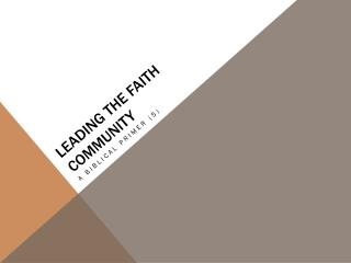 Leading the faith community