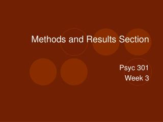Methods and Results Section