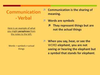 Communication - Verbal