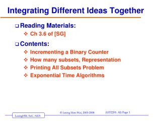 Integrating Different Ideas Together