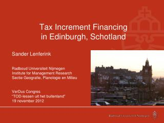 Tax Increment Financing in  Edinburgh , Schotland