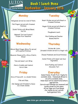 Week 1 Lunch Menu September - January 2014