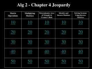 Alg  2 - Chapter  4  Jeopardy