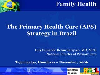 Family Health The Primary Health Care (APS) Strategy in Brazil
