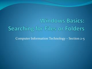 Windows Basics: Searching for Files or Folders