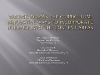 Writing Across the Curriculum: Innovative Ways to Incorporate literacy into the Content Areas