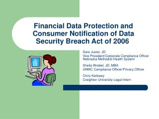 Financial Data Protection and Consumer Notification of Data Security Breach Act of 2006