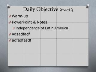 Daily Objective 2-4-13