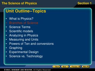 Unit Outline--Topics