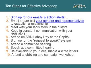 Ten Steps for Effective Advocacy