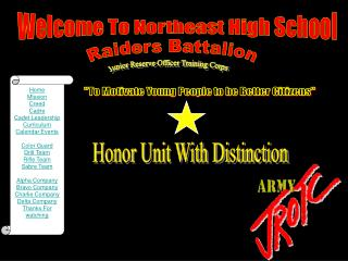 Home Mission Creed Cadre Cadet Leadership Curriculum Calendar Events Color Guard Drill Team