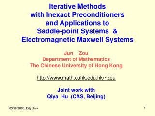 Jun    Zou  Department of Mathematics  The Chinese University of Hong Kong
