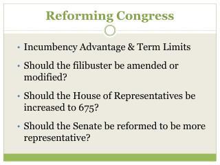 Reforming Congress