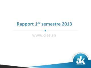 Rapport 1 er  semestre 2013