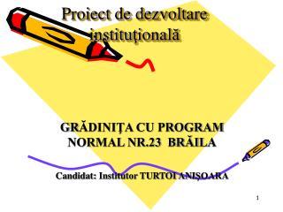 Proiect de dezvoltare institu ţ ional ă