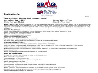 Position Opening Page 1 Job Classification:  Temporary Mobile Equipment Operator I